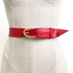 Vintage 80s Gold Buckle Faux Leather Belt Size